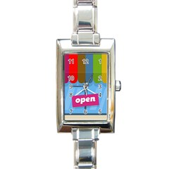 Store Open Color Rainbow Glass Orange Red Blue Brown Green Pink Rectangle Italian Charm Watch