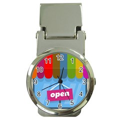 Store Open Color Rainbow Glass Orange Red Blue Brown Green Pink Money Clip Watches by Mariart