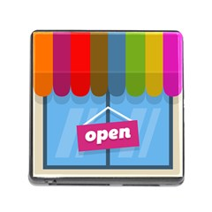 Store Open Color Rainbow Glass Orange Red Blue Brown Green Pink Memory Card Reader (square)