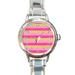 Pink Line Gold Red Horizontal Round Italian Charm Watch by Mariart