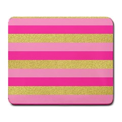 Pink Line Gold Red Horizontal Large Mousepads by Mariart