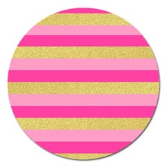 Pink Line Gold Red Horizontal Magnet 5  (round)