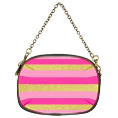 Pink Line Gold Red Horizontal Chain Purses (two Sides)  by Mariart