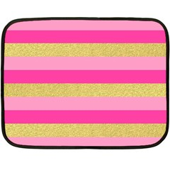 Pink Line Gold Red Horizontal Double Sided Fleece Blanket (mini)  by Mariart