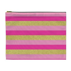 Pink Line Gold Red Horizontal Cosmetic Bag (xl) by Mariart