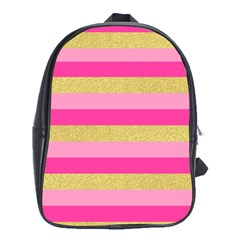 Pink Line Gold Red Horizontal School Bags(large)