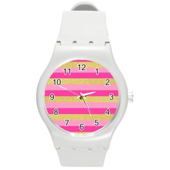 Pink Line Gold Red Horizontal Round Plastic Sport Watch (m) by Mariart