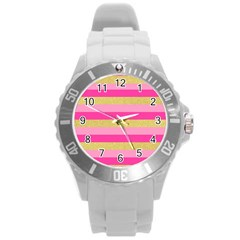 Pink Line Gold Red Horizontal Round Plastic Sport Watch (l) by Mariart