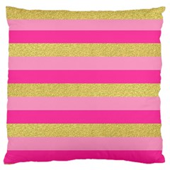 Pink Line Gold Red Horizontal Large Cushion Case (one Side) by Mariart