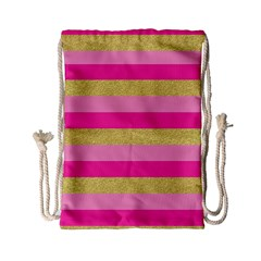 Pink Line Gold Red Horizontal Drawstring Bag (small) by Mariart