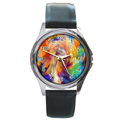 Rainbow Color Splash Round Metal Watch by Mariart