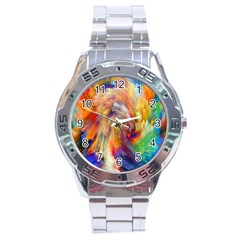 Rainbow Color Splash Stainless Steel Analogue Watch by Mariart