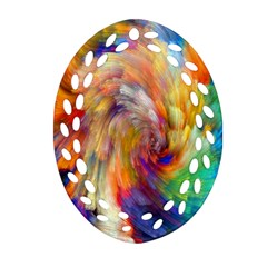 Rainbow Color Splash Oval Filigree Ornament (two Sides) by Mariart