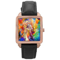 Rainbow Color Splash Rose Gold Leather Watch  by Mariart