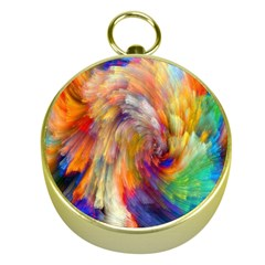 Rainbow Color Splash Gold Compasses by Mariart