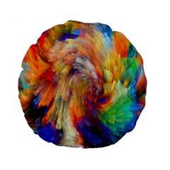 Rainbow Color Splash Standard 15  Premium Flano Round Cushions by Mariart