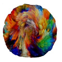 Rainbow Color Splash Large 18  Premium Flano Round Cushions by Mariart