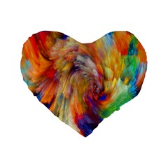 Rainbow Color Splash Standard 16  Premium Flano Heart Shape Cushions by Mariart