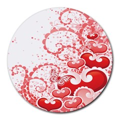 Love Heart Butterfly Pink Leaf Flower Round Mousepads by Mariart