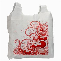 Love Heart Butterfly Pink Leaf Flower Recycle Bag (one Side) by Mariart