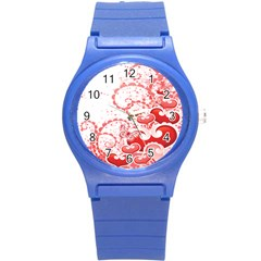 Love Heart Butterfly Pink Leaf Flower Round Plastic Sport Watch (s) by Mariart
