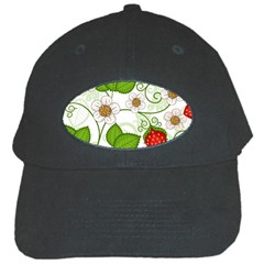 Strawberry Fruit Leaf Flower Floral Star Green Red White Black Cap by Mariart