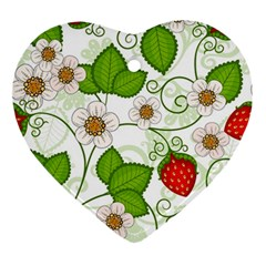 Strawberry Fruit Leaf Flower Floral Star Green Red White Ornament (heart) by Mariart