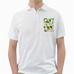Strawberry Fruit Leaf Flower Floral Star Green Red White Golf Shirts by Mariart