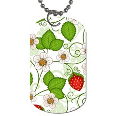 Strawberry Fruit Leaf Flower Floral Star Green Red White Dog Tag (one Side) by Mariart