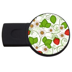 Strawberry Fruit Leaf Flower Floral Star Green Red White Usb Flash Drive Round (2 Gb) by Mariart