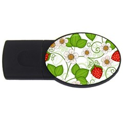Strawberry Fruit Leaf Flower Floral Star Green Red White Usb Flash Drive Oval (2 Gb) by Mariart