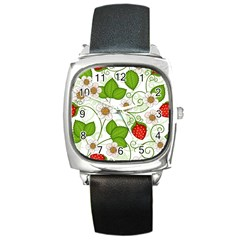 Strawberry Fruit Leaf Flower Floral Star Green Red White Square Metal Watch by Mariart