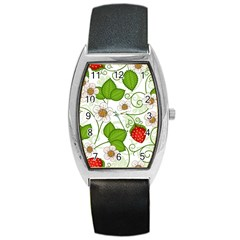 Strawberry Fruit Leaf Flower Floral Star Green Red White Barrel Style Metal Watch by Mariart