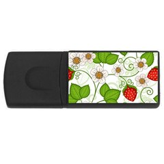 Strawberry Fruit Leaf Flower Floral Star Green Red White Usb Flash Drive Rectangular (4 Gb) by Mariart