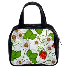 Strawberry Fruit Leaf Flower Floral Star Green Red White Classic Handbags (2 Sides) by Mariart