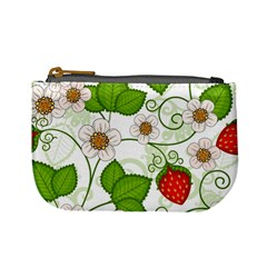 Strawberry Fruit Leaf Flower Floral Star Green Red White Mini Coin Purses by Mariart