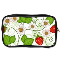 Strawberry Fruit Leaf Flower Floral Star Green Red White Toiletries Bags 2 Side by Mariart