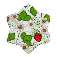 Strawberry Fruit Leaf Flower Floral Star Green Red White Snowflake Ornament (two Sides) by Mariart