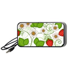 Strawberry Fruit Leaf Flower Floral Star Green Red White Portable Speaker (black) by Mariart