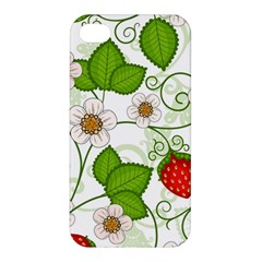Strawberry Fruit Leaf Flower Floral Star Green Red White Apple Iphone 4/4s Premium Hardshell Case by Mariart