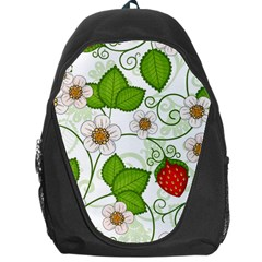 Strawberry Fruit Leaf Flower Floral Star Green Red White Backpack Bag by Mariart