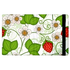 Strawberry Fruit Leaf Flower Floral Star Green Red White Apple Ipad 2 Flip Case by Mariart