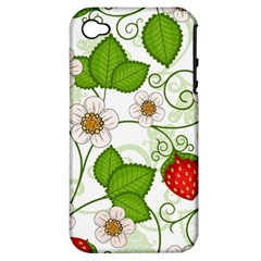 Strawberry Fruit Leaf Flower Floral Star Green Red White Apple Iphone 4/4s Hardshell Case (pc+silicone) by Mariart
