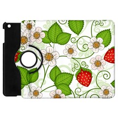 Strawberry Fruit Leaf Flower Floral Star Green Red White Apple Ipad Mini Flip 360 Case