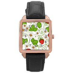 Strawberry Fruit Leaf Flower Floral Star Green Red White Rose Gold Leather Watch  by Mariart