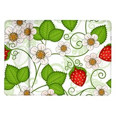 Strawberry Fruit Leaf Flower Floral Star Green Red White Samsung Galaxy Tab 10 1  P7500 Flip Case by Mariart