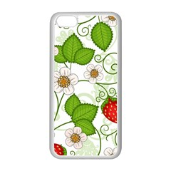 Strawberry Fruit Leaf Flower Floral Star Green Red White Apple Iphone 5c Seamless Case (white) by Mariart