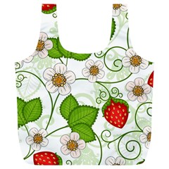 Strawberry Fruit Leaf Flower Floral Star Green Red White Full Print Recycle Bags (l)  by Mariart