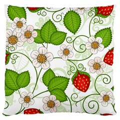 Strawberry Fruit Leaf Flower Floral Star Green Red White Large Flano Cushion Case (two Sides)