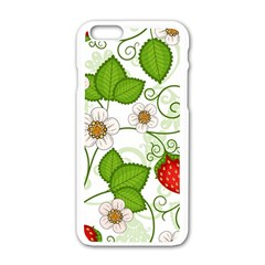 Strawberry Fruit Leaf Flower Floral Star Green Red White Apple Iphone 6/6s White Enamel Case by Mariart